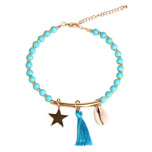 3UMeter Star Handmade Adjustable Anklet - Boho Jewelry with Cowrie Shell Turquoise Bead Tassel Anklets for Women and Girls -
