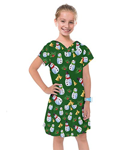 PattyCandy Girls Fun Hand Drawn Snowman Christmas Kids Drop Waist Dress - 6