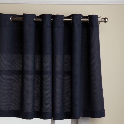 LORRAINE HOME FASHIONS Jackson 58 x 24-inch Tier Curtain Pair, Navy, 58
