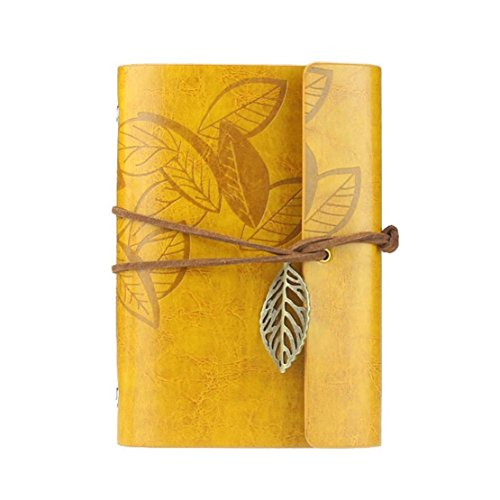 Vintage Leaf Leather Cover Loose Leaf Blank Journal Diary (Blue) - 7