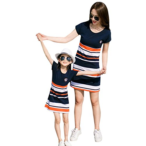 Gooldu Family Dress Matching Mother Daughter,Mom&Me Women Mother Striped Letter Print Family Short Sleeve Dress Clothes ()