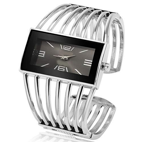 - Womens Watch Luxury Fashion Rose Gold Bangle Bracelet Watch Women Dress Clock Female Lady Girls Wristwatches,Silver Black