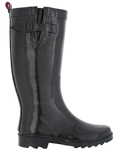 Rubber Capelli New Pull amp; Loop Rain With Boot Shiny Solid York Buckle Ladies Black wIIPprqd