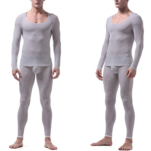 Zhhlinyuan Hombre Non-trace Ice Silk Lightweight Breathable Smooth Térmica Base Layer Ropa interior Set Baselayer Long Johns and Long Sleeve T Shirt Top: ...