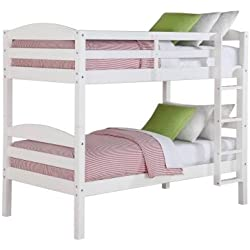 Better Homes and Gardens Leighton Twin Over Twin Wood Bunk Bed, White (Twin, White)