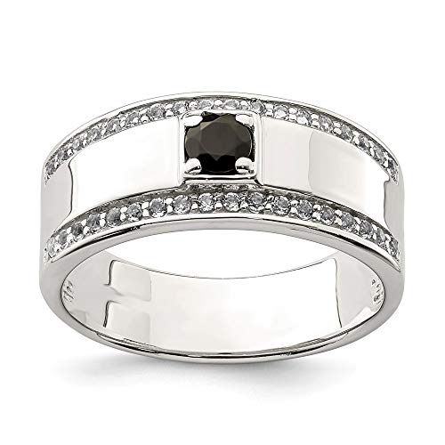 925 Sterling Silver Mens Black Onyx White Topaz Band Ring Size 10.00 Man Fine Jewelry Gift For Dad Mens For Him