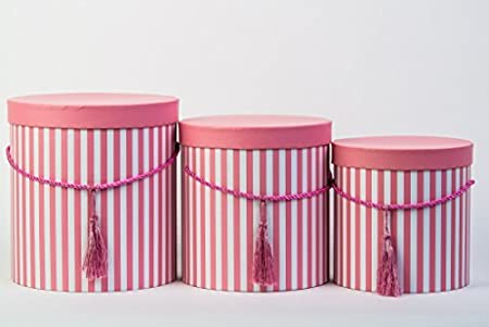 Set Of 3 Round Storage Boxes With Lids In Pink Cord And Tassel Hat