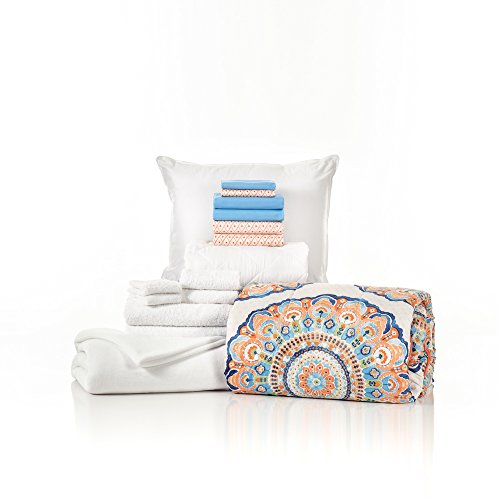 - Campus Linens 16 Piece Starter Pak Catalina Coral Aqua Twin XL College Dorm Bedding and Bath Set