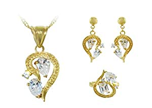 Vera Perla 18K Gold-Plated Half-Heart Shaped Crystals Jewelry Set