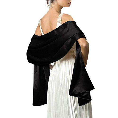 (LANSITINA Women's Solid Color Satin Shawl Wraps for Evening Dress/Wedding Party,black)
