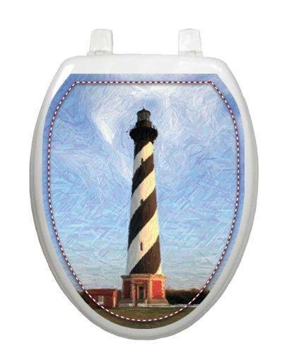 Cape Hatteras Toilet Tattoo TT-1018-O Elongated Beach Lighthouse Theme Cover Bathroom, Model: ()