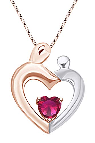 AFFY Mothers Day Jewelry Gift Heart Cut Simulated Ruby Two Tone Mom and Child Pendant Necklace in 14k Rose Gold Over Sterling Silver