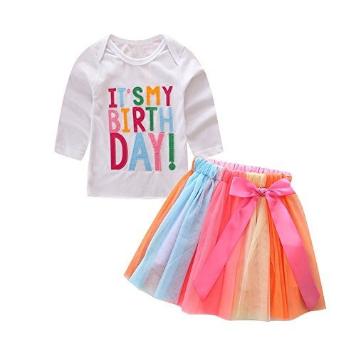 Kidsa 1-7T Baby Little Girls Long Sleeve T-shirt + Colorful Rainbow Skirts Birthday Gift Outfits Set, White-long Sleeve, 120/5-6T