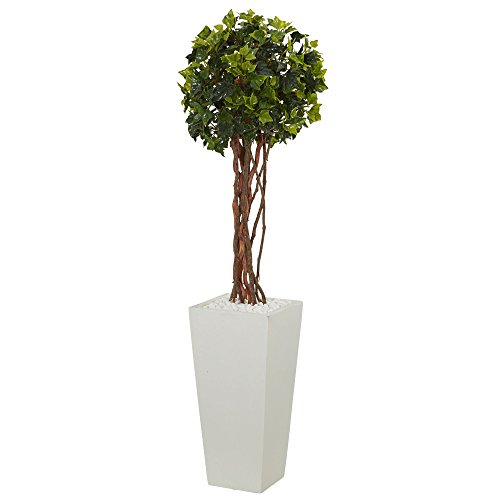 Nearly Natural 3' English Ivy Artificial Tree in White Tower Planter, UV Resistant (Indoor/Outdoor) 3, Green (English Topiary Ivy)
