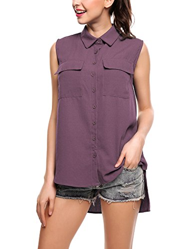 SE MIU Women Chiffon Sleeveless Blouse Button Down High Low Shirt Pocket Tank Work - Store Miu Miu
