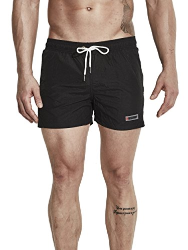 Neleus Men's Running Sports Shorts Swim Trunks,602,Black,M,Tag - Running Swimming Shorts