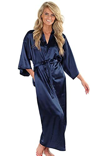 (Women Silk Satin Long Wedding Bride Bridesmaid Robe Robe Large Size XXXL Peignoir Femme Sexy Bathrobe,As The Photo Show,XXL)