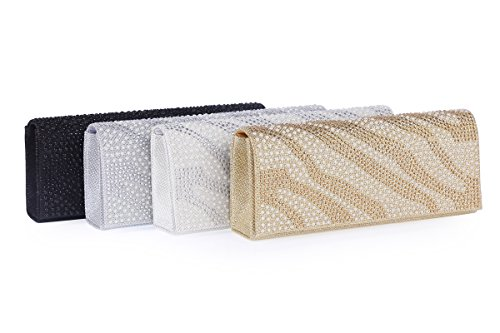 Clutch Womens Beads Wavy Bag Glitter Evening Interlaced White Damara dXwHqnvv