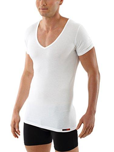 ALBERT KREUZ Mens deep v-Neck Business Undershirt with Short Sleeves Micromodal Light White