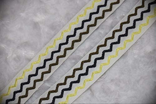 2 Yards White Yellow Brown Black Zig Zag Poly Sewing Stretch Assorted Pattern Ribbon Lace Trim 7/8