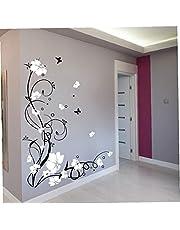 Wijnstok Bloem Boom Vinyl Muurstickers, 1 Set Muursticker Muurschildering voor Woonkamer Slaapkamer Woondecoratie