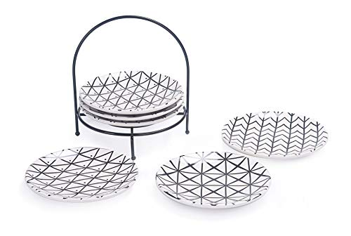 (Bico Linear Black n White 6 inches Ceramic Appetizer Plate with Rack, Set of 7, for Salad, Appetizer, Snacks, Plates Microwave & Dishwasher Safe, House Warming Birthday Anniversary Gift)