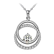 Mothers Day Gift Necklace for Women, Fine Jewelry ZHULERY  Charm Ring Sterling Silver-925 Cubic Zircon-5A Necklace Best gift for her with Exquisite PackagePendant Necklace