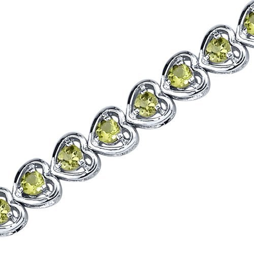 Peridot Bracelet Sterling Silver Rhodium Nickel Finish Heart Design 3.75 Carats