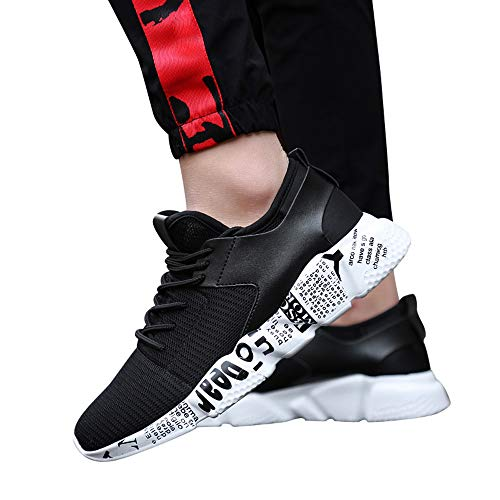 Women's & Men Sneakers Mesh Outdoor Sport Walking Running Shoes Breathable Lightweight Athletic (Black, US:7.5) by Kinrui Women Shoes