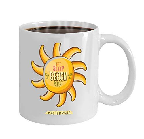 Funny Gifts for Halloween Party Gift Coffee Mug Tea eat sleep beach repeat cartoon concept summer poste