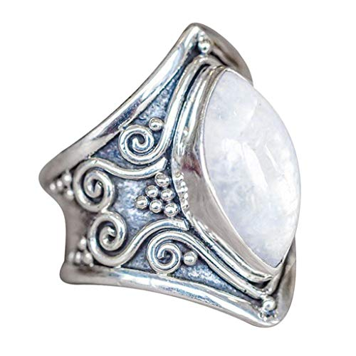 Aunimeifly Engagement Gift Women Boho Silver Natural Gemstone Marquise Moonstone Personalized Ring Jewelry