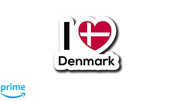 One 5 Inch Decal Love Denmark Flag Decal Sticker Home Pride Travel Car Truck Van Bumper Window Laptop Cup Wall MKS0125