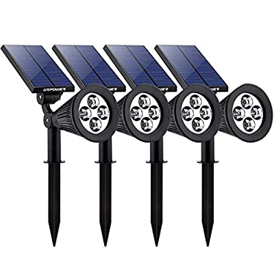 URPOWER Solar Lights Waterproof Solar Lights Outdoor 2-in-1 Adjustable Solar Spotlight Wall Light Auto On/Off Solar-Powered Landscape Lighting for Garden Yard Pathway Swimming Pool