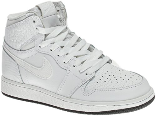 Jordan Nike Kids Air 1 Retro High OG BG White/Black White Basketball Shoe 7 Kids (White Retro 1)