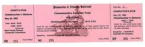 - Pensacola and Atlantic Railroad Ticket Louisville & Nashville Railroad 1982