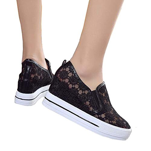 ANDAY Fashion Comfy Lace Mesh Height Increasing Shoes Platform Trainers Sandals Black ZMAPaQkj99