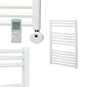 Straight white electric heated ladder towel rail wall - Electric bathroom radiators with timer ...