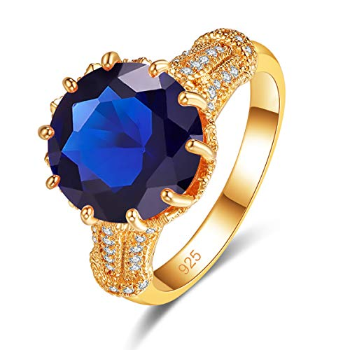 Veunora 925 Sterling Silver Plated Lab-Created Sapphire Quartz Yellow Gold Promise Proposal Engagement Wedding Rings for Women Girl Size 7