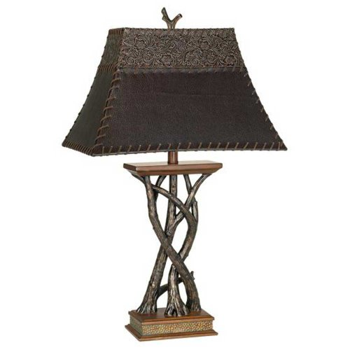 Pacific Coast Lighting Montana Reflections Table Lamp (Leather Table Rectangular Lamp)