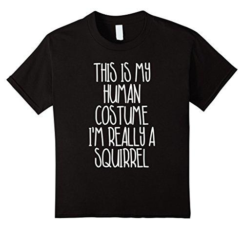 Cute Simple Costumes For Halloween (Kids Cute Simple Squirrel Halloween Costume Shirt for Girls Boys 10 Black)