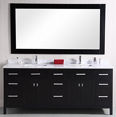 Design Element DEC088 London 78-Inch Double Sink Vanity Set by Design Element