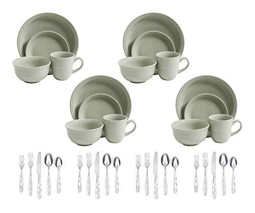 Mainstays Green Rainforest 16-Piece Dinnerware Set bundle with Farberware 20-Piece Chipotle Sand Flatware Set