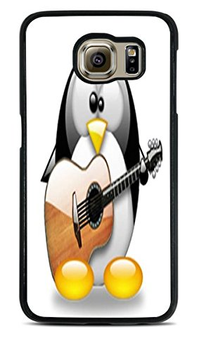 Cute Penguin Playing the Guitar Black Silicone Case for Samsung Galaxy S6
