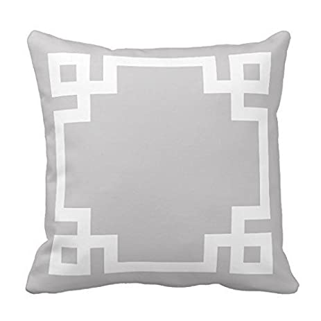 gray and white greek key border pillow home sofa decorative 18x18 inch square throw pillow case