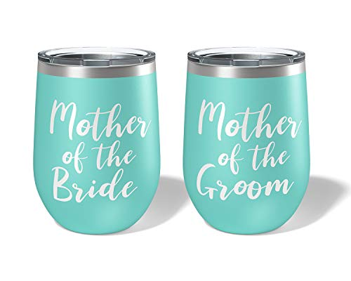 (Wedding Gifts for Parents Mother of the Bride and Groom Wine Tumblers - Set of 2 )