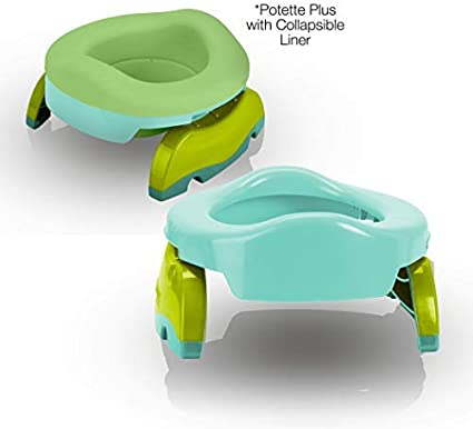 Potette Plus Potty Value Pack White//Gray Kalencom 2in1 Potette Plus Portable Potty and Reusable Collapsible Liner for Home Use