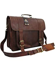 Yuge Bear 18 B1P Mens Genuine Leather Vintage Laptop Bag Briefcase Satchel