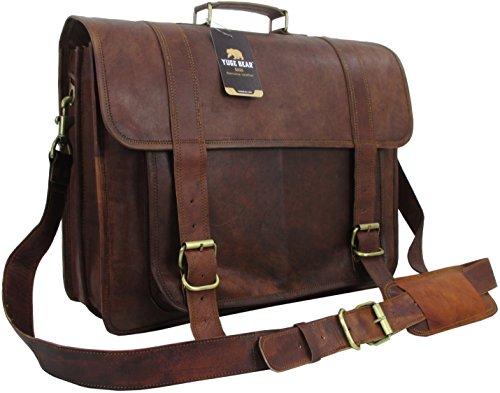 Yuge Bear 18'' B1P Mens Genuine Leather Vintage Laptop Bag Briefcase Satchel by Yuge Bear