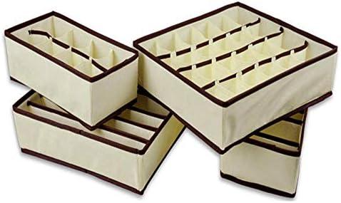 チェスト 仕切りケース 折り畳み式のクローゼット収納ボックス、不織布ドレッサー引き出し収納オーガナイザーボックスのブラジャー、下着、靴下、4のセット 下着・靴下・小物収納 (Color : Beige, Size : 4 piece set)