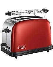 Russell Hobbs Colours Plus+ Flame Red Broodrooster Rood, Extra Brede Sleuven, Extra Snel, Makkelijk Reinigbaar, RVS, Hoogglans Rood, 23330-56